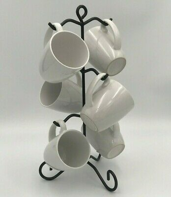 Wrought Iron 6 Coffee Mug & Tea Cup Rack Holder Tree Stand Kitchen Storage Amish
