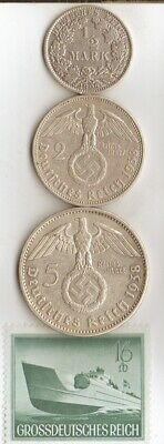 """*3-*german SILVER EAGLE coins-+WW2- rare Stamp of - """"PATROL  BOAT"""""""
