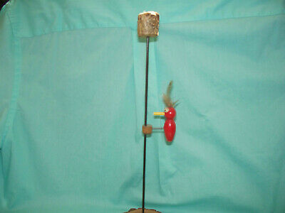 Vintage Wood & Metal Woodpecker Action Toy Novelty.