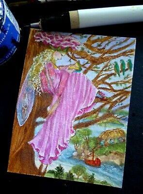 ACEO ORIGINAL*FaiRy ReaDS*BiRDY TaLeS bOOk*TrEE*BLueBirDs*WaTer*HouSe*BoAT*
