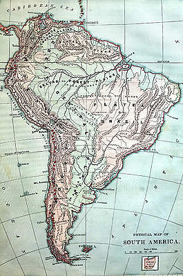 Antique Map of SOUTH AMERICA Brazil Venezuela Paraguay Argentina 1883 Matted