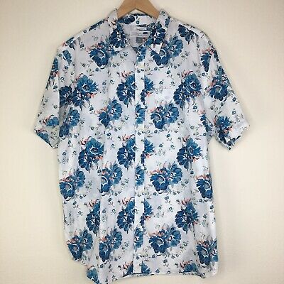 Old Navy Mens XXL Slim Fit Classic Shirt White Floral Button Down Top