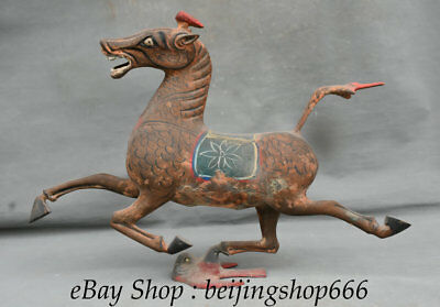"""18"""" Ancient Chinese Bronze Painting Dynasty Running Horse Flying Swallow Statue"""