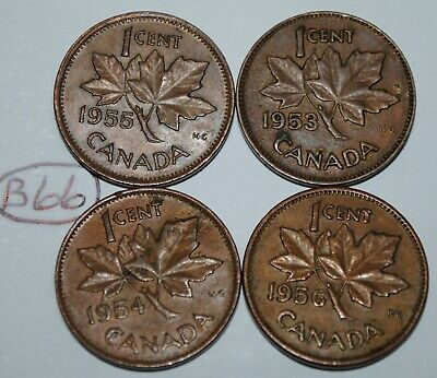 Canada 1953 NSF, 1954 SF, 1955 SF, 1956 1 Cent One Canadian Penny Coin Lot #B66