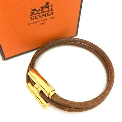 100% Authentic Hermes Brown Gold Palladium Plated H Leather Bracelet /p221