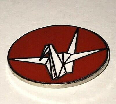"Japanese Paper Crane ""No More Hibakusha"" Pin Nuclear War Protest Red Enamel"