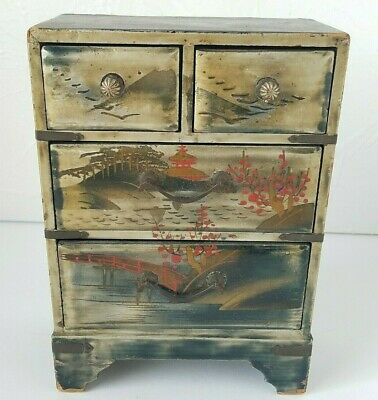 Vintage Mini Dresser Asian Chest of Drawers Doll