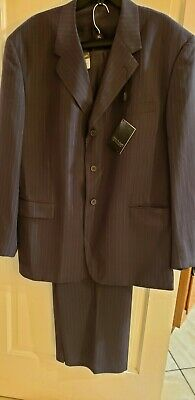 Vittorio St. Angelo Men's Gray Pinstriped 3 Front Button Suit Size 48L 42W