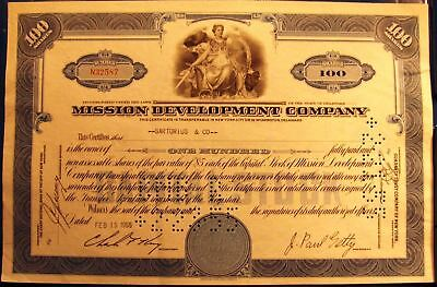 Stock certificate Mission Development Company (Paul Getty) 100 shares Delaware
