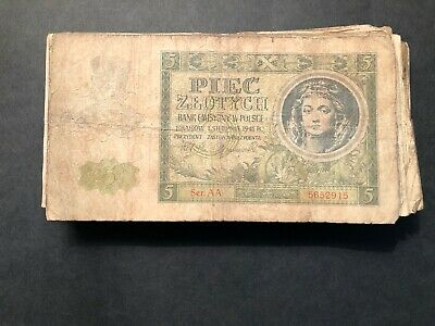 1941 Poland 5 Piec Zlotych Banknote Money for Collector/Investor P101