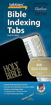 Tabbies Mini Gold-Edged Bible Indexing Tabs Old New Testament, 80 Tabs included