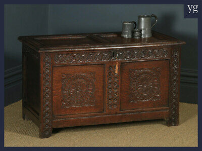 Antique English Charles II Oak Carved Twin Panel Coffer Chest Blanket Box Trunk