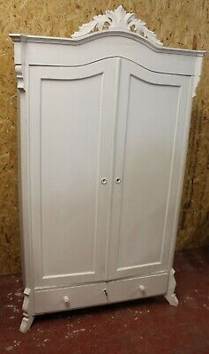 1960's White Painted 2 Door Louis XV style Wardrobe with Base Drawer