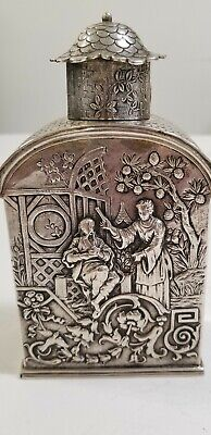 Magnificent Chinese /Japanese  Style  Sterling Silver Tea Caddy