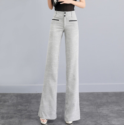 US L Gray Women High Rise Cotton Linen Wide Leg Flare Pants Loose Formal gy00
