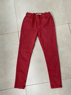 Girls jeans M&S Coral Colour Worn Once Age 10-11 Years
