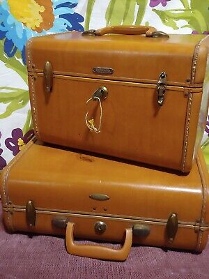 Vintage Samsonite Small Hard Suitcase&Traincase Shwayder Bros Brown  Luggage