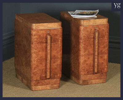 Antique English Pair Art Deco Burr Maple & Walnut Bedside Chests Tables Cabinets