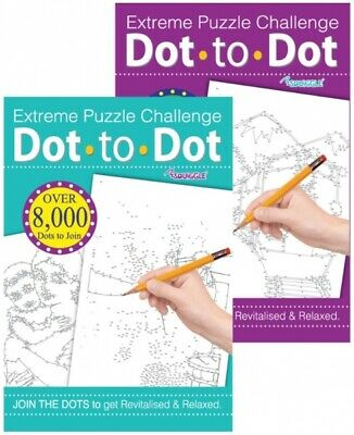 2 x EXTREME ADULT DOT TO DOT PUZZLE  BOOKS CHALLENGING PUZZLES
