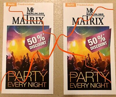 Matrix 2 x 50 % Discount Berlin Rabatt Ticket Ermässigung Disco Eintrittskarten