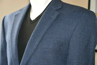 Mens Blazer JOS A. BANK Blue/Black Check Wool Travelers Collection Size 42R