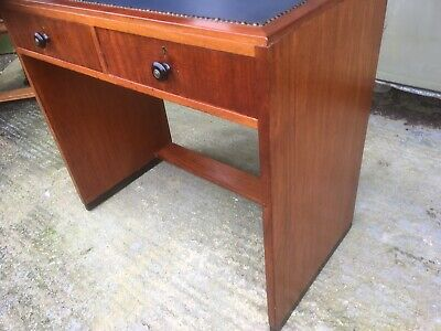 ART DECO  / 1930s.   /. SMALL BLUE LEATHER TOPPED DESK / WALNUT & EBONISED