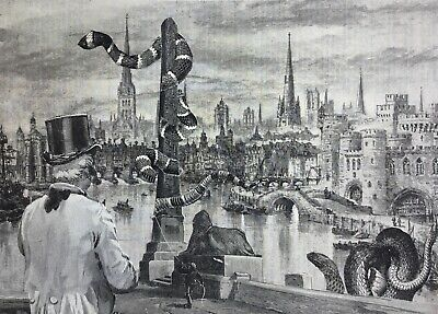 ORIGINAL SURREALIST COLLAGE Victorian antique surreal art snakes London Thames