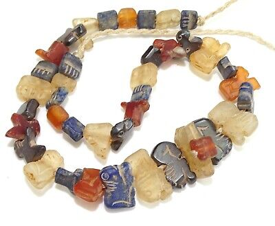 ANCIENT 2nd CENT BC BACTRIAN STONE BEAD NECKLACE LAPIS LAZULI CARNELIAN CRYSTAL