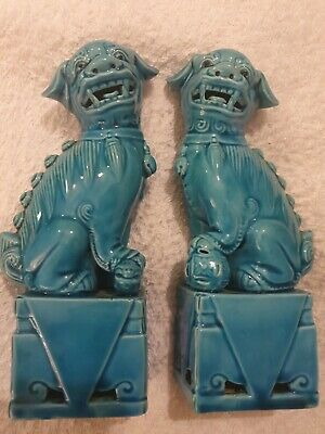 Hong Kong Antique Vintage Chinese Foo Fu Temple Lion Dogs of Fo Turquoise no:25