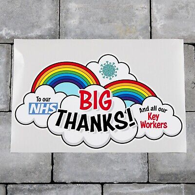 Rainbow Window / Wall Sticker Big Thank You NHS And Key Workers Charity - D