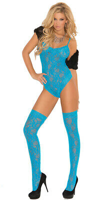 Queen Size Womens Plus Size Neon Blue Lace Teddy And Stockings, Turquoise Teddy