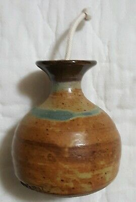 """Oil Lamp Signed Handmade Klickitat Pacific Northwest Pottery Organic Appx 4"""""""