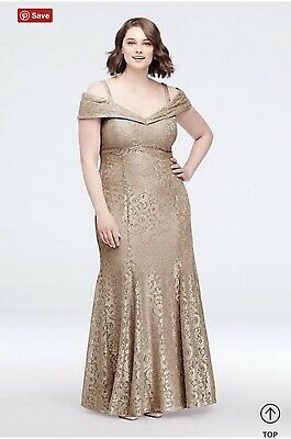 RM Richards Cold-Shoulder Glitter Lace Plus Size Mermaid Dress 16