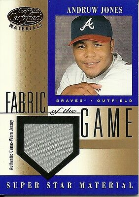 2001 Leaf Certified Materials Fabric Of The Game Base Andruw Jones 59 Braves