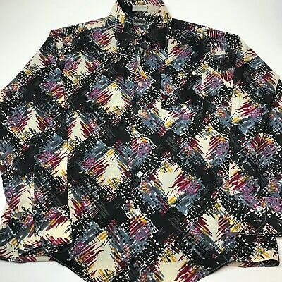 Vintage 70s His Majesty Disco Long Sleeve Shirt Polyester Large