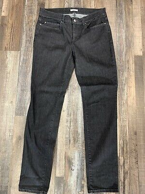 Eileen Fisher Gray Black Straight Jeans Organic Cotton Stretch Pants Size 8