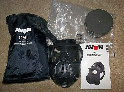 New AVON Protection C50 Twin Port CBRN Respirator GAS MASK w C2A1 Filter~Not M50