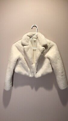 Girls' Cream Faux Fur Jacket Blazer Size 10