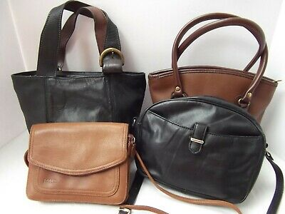 vtg lot 4 purse brn blk leather shoulder kelly organizer Fossil Claiborne Coach