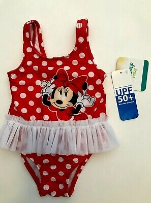NWT Disney Minnie Mouse Girls Polka Dot Tutu Swim Bathing Suit Size 3- 6 Months