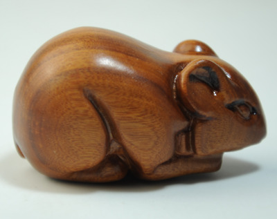 Chinese natural Boxwood Wood mice mouse statue Figurine pendant gift /Aa01