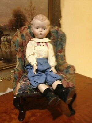 Reproduction  Antique Bisque head boy doll