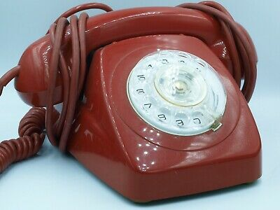 Vintage Retro Red Finger Rotary Dial Telephone