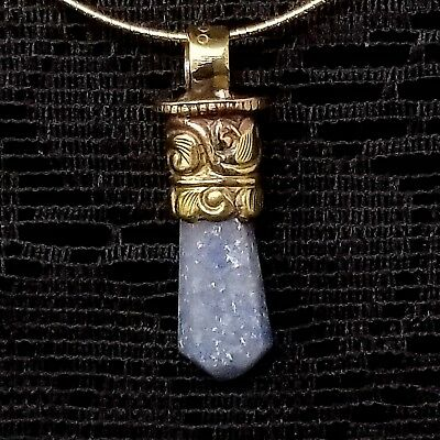 """18"""" sterling silver necklace two tone gold and silver with blue crystal pendant"""