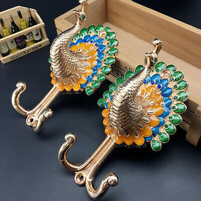 Alloy Vintage Peacock Curtain Hooks Colorful Antique Wall Hangers
