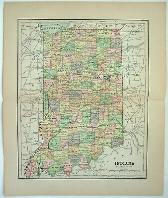 Original 1891 Map of Indiana by Hunt & Eaton. Antique
