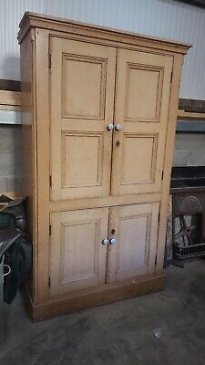 Antique Victorian Pine Linen Press Wardrobe