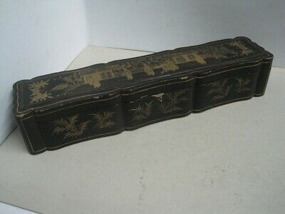 Antique Big Chinese Lacquer box for Fan with hand-painted birds and glass cover