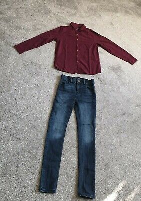 boys next skinny jeans and shirt age 11
