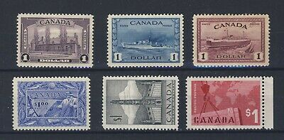 6x Mint Canada $1.00 Stamps #245-262-273-302-321-411 Guide Value = $300.00+
